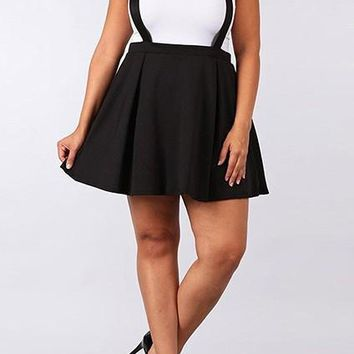 Black Pleated Spaghetti Strap Tutu Plus Size Skater High Waisted Cute Overall Skirt
