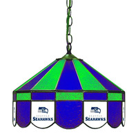 Seattle Seahawks NFL 16 Inch Billiards Stained Glass Lamp