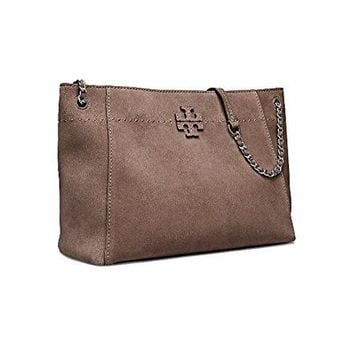 Tory Burch Mcgraw Suede Chain-Shoulder Slouchy Tote, Silver Maple