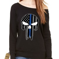 Police Thin Blue Line Skull American Flag - Support Police Departments Slouchy Off Shoulder Oversized Sweatshirt