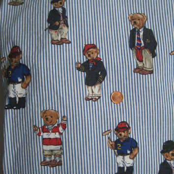 Vintage Ralph Lauren Polo Bear TWIN Size Fitted Sheet Striped Bedding Gently Used Clean Kids Bedding Girl Bedding Boy Bedding Craft Fabric