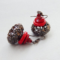 Dangle red coral earrings with Swarovski siam crystal findings Black and red dangle earrings