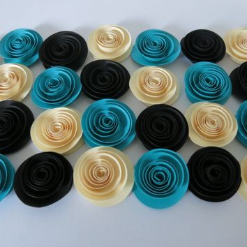 "Teal, Ivory and Black Paper Flower Set of 24, Wedding Candy Bar Decorations, Baby Shower Gift Idea, Pleasant 1.5"" roses, Spa night Party decor"