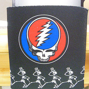 Grateful Dead SYF and Skeletons Koozie Can Cooler Black