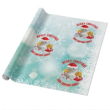 Christmas Funny Cute Kitty Cat With Cool Santa Hat Wrapping Paper