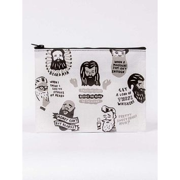 Beards Zipper Pouch in Grey Recycled Material