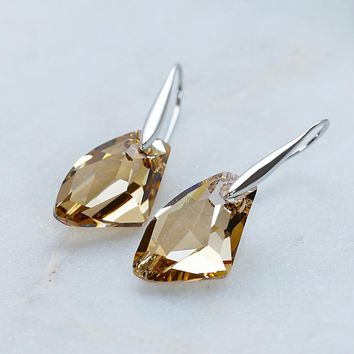Champagne Yellow SWAROVSKI Crystals Hook Earrings