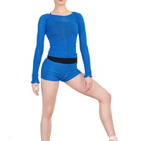 KrinkleSpun Off Shoulder Stretch Knit Ballet Top & High Waist Dance Shorts by KD dance New York Made In USA