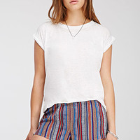 Striped Southwestern-Patterned Shorts