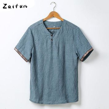 ac NOOW2 ZAITUN Plus Size Linen Shirts Men Basic Style Kung Fu Short Sleeve Shirts Pull Over Summer Thin Chinese Casual Linen Shirt Men