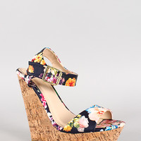 Bamboo Floral Leatherette Two Band Cork Platform Wedge