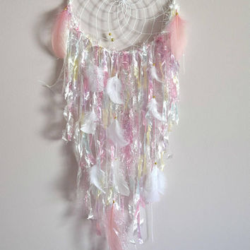 Boho Dream Catcher, Large Blush Pink Dreamcatcher, Shabby Chic Nursery Wall Decor, Wall Hanging  Bedroom Wall Decor, Nursery Decor