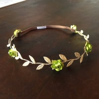 Greek Crown with Green Flowers Gold Headband