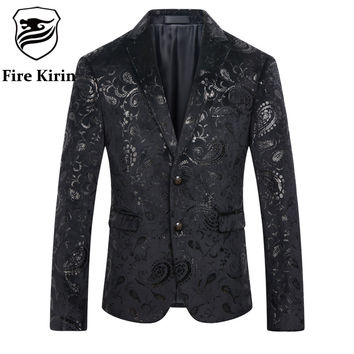 Men Sequin Blazer Men Paisley Suit Slim Fit Black Men Velvet Blazers Stage Costumes For Singers