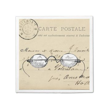 Vintage Glasses French Postcard Napkin