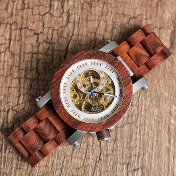 Men's Red Sandalwood Bronze Skeleton Wooden Watch