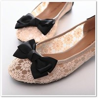BN Lacey Bowed Ladies Wedding Ballet Flats Ballerina Comfy Shoes Beige Black