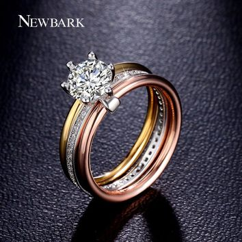 NEWBARK Brand 1.25ct Big CZ Rings For Women 3 Rounds Cubic Zirconia Paved Engagement Stacking Ring Set Include 3 Colors Female
