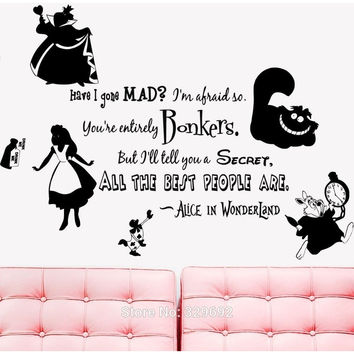 FREE SHIPPING ALICE IN WONDERLAND RABBIT CAT CLOCK MAD WALL VINYL STICKER DECAL HOME DECOR REMOVABLE WALL ART MURALS PAPER 097