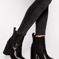 New Look Doolittle Leather Heeled Chelsea Boots at asos.com
