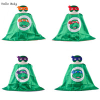 1cape+1mask Cloak Superhero Capes Ninja Turtles Toys Boy Clothes Children Baby Cosplay Birthday Mask Halloween Costume for Kids
