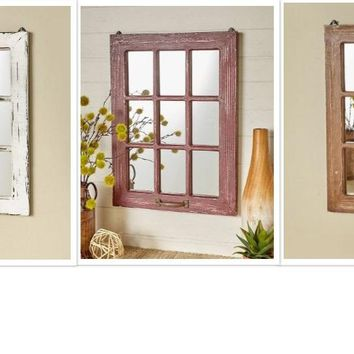 Distressed Wood Windowpane Wall Mirror Wood & Glass Rustic Farmhouse Decor