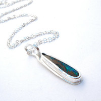 Simplistic Boulder Opal Pendant Bezel Set in Bright Sterling Silver- Green and Blue Fire
