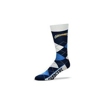 NFL San Diego Chargers Argyle Unisex Crew Cut Socks - One Size Fits Most