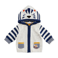 Hooded Striped Tiger Sweater, Gray,