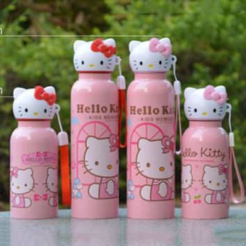 1PC Vacuum Flasks Thermoses Stainless Steel Cartoon Hello Kitty Insulated Thermos Cup Travel Coffee Drink  Water Bottle 9D