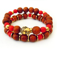 Gold and Wood Beaded Buddha Stretch Bracelet Set