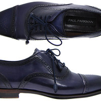 Paul Parkman Cap Toe Oxford Shoes For Men - Navy Leather Upper & Navy Hand Burnished Leather Sole