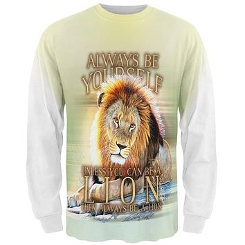 Always Be Yourself Unless Lion All Over Mens Long Sleeve T Shirt