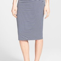 Petite Women's Caslon Side Ruched Stretch Knit Midi Skirt