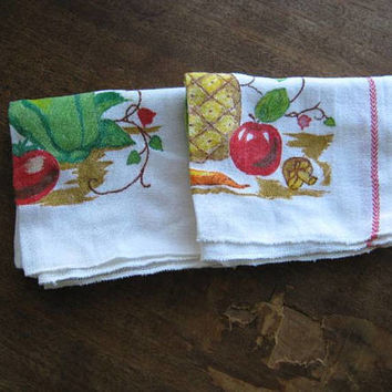 Set of 3 Cotton Blend Vintage Dish Towels with 'Saturday'/Country Graphic; Fruits & Veggies~Fresh Kitchen Towels; Free Shipping/U.S.