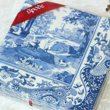 Spode Napkins Italian Blue Package 20 | Sealed Package Blue White Spode Napkins 3 Ply | Made in Germany | Napkins for Crafts & Decoupage