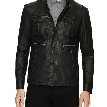 John Varvatos Collection Men's Zip and Button Front Coated Linen Jacket