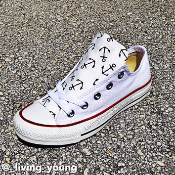 Anchor Converse Low Top Sneakers Custom White Chuck Taylors 48d1c548c