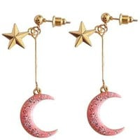 Pink Glitter Lunar Earrings