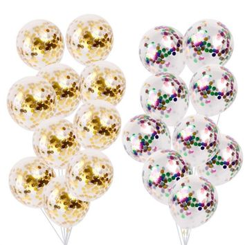 5pcs/ Lot Confetti Balloons Clear Latex Balloon Multicolor  for Wedding Decoration Happy Birthday Baby Shower Party Supplies