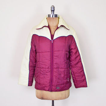 Vintage 70s Burgundy Maroon Red Puffer Jacket Coat Puffy Jacket Ski Jacket Snowboard Jacket Winter Jacket 70s Jacket Retro Jacket Women S M