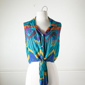 Vintage 90 Tie Front Blouse | Ethnic Top Soft Grunge Top Hippie Top Boho Chic Festival Top Crop Top 90s Top Pin Up Top Chevron Southwestern