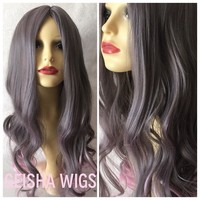 Pink Fades, Grey Pink Dip Dye Ombre Curls Waves Natural Cosplay Wig