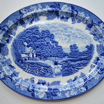 Large VINTAGE Blue Toile TRANSFERWARE French Country  Peasant Farm Girl Gathering Hay near Waterfall