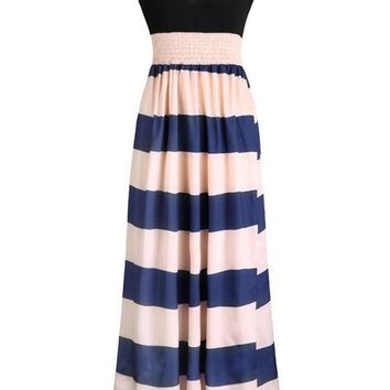 White Striped Pleated Plunging Neckline Sleeveless Maxi Dress
