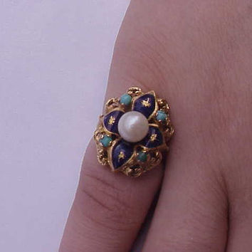 Incredible works of Art,  Victorian Blue  Enamel 750(18k)  Yellow  Gold  Pearl and Turquoise  Ring ,1800's