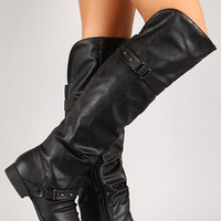 Push Stud Slouchy Knee High Riding Boot Color: Black, Size: 9