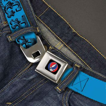 Grateful Dead Men's  Text With Skull & Roses Turquoise Seatbelt Buckle Belt