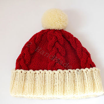 Santa Hat Adult Unisex Men Women Teens Cable Knit Oversized Beret Baggy Red White Slouchy Christmas Santa Hat Unisex beanie Chunky Pom Pom