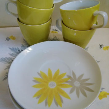 Vintage Mikasa Largo Cups and Saucers, Mikasa Elite Yellow Daisy Coffee Mugs, Flower Power Tea Set, That Girl 70's Coffee Set